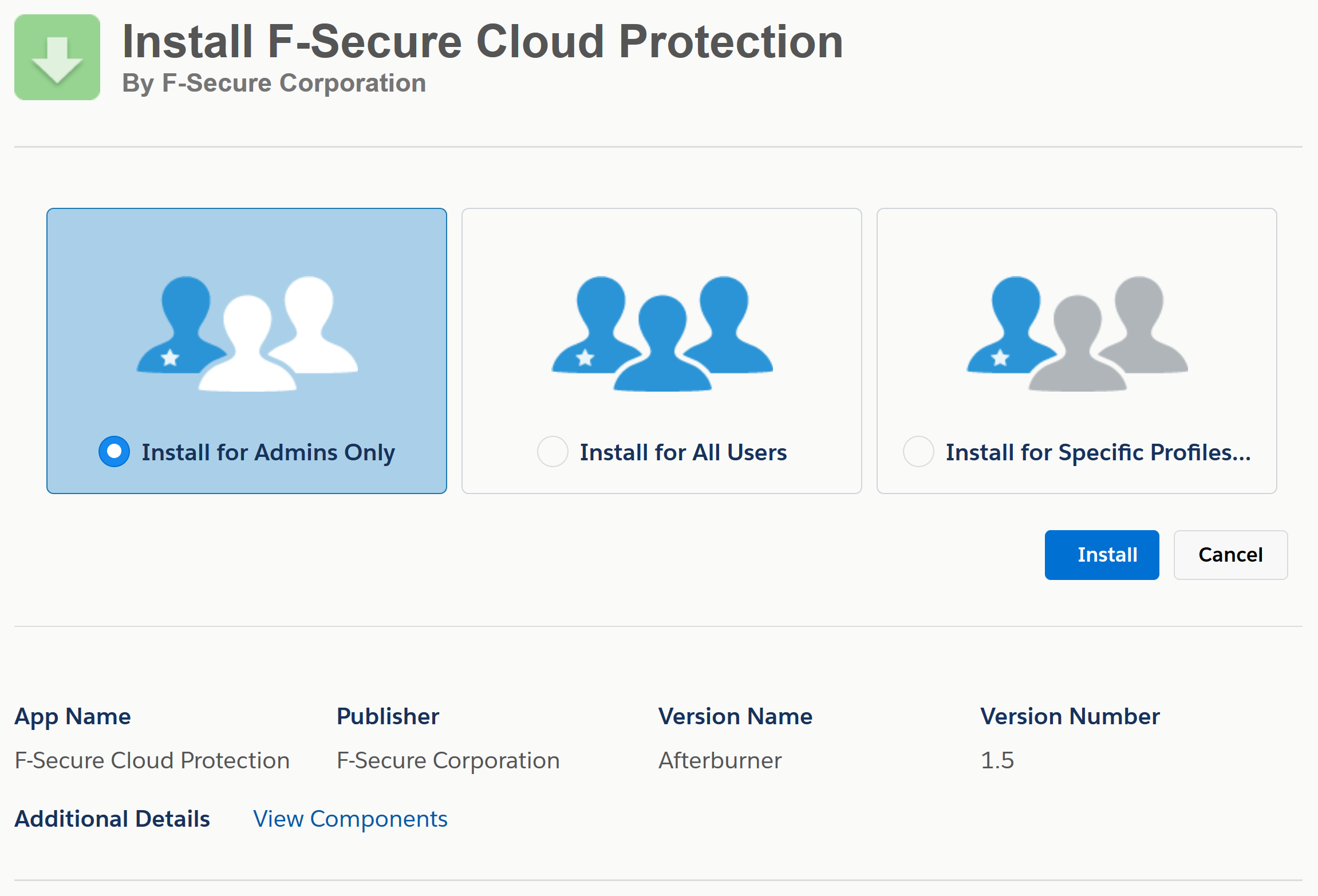 Installing the application | Cloud Protection for Salesforce